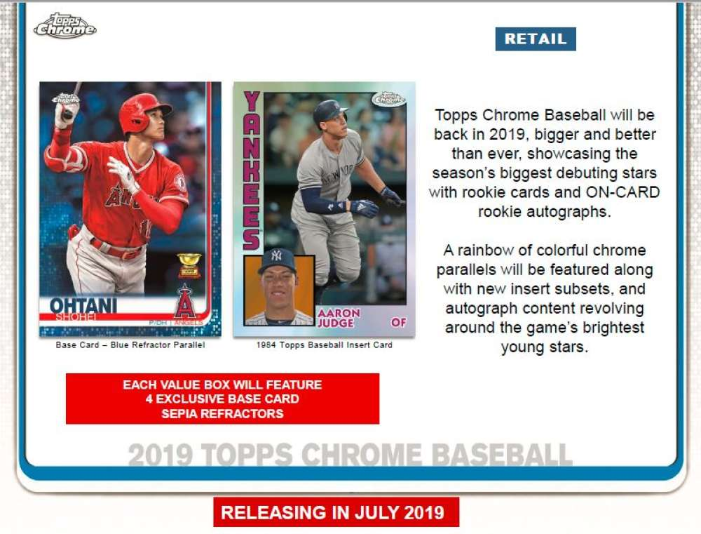 2019 Topps Chrome Baseball Value Packs Case