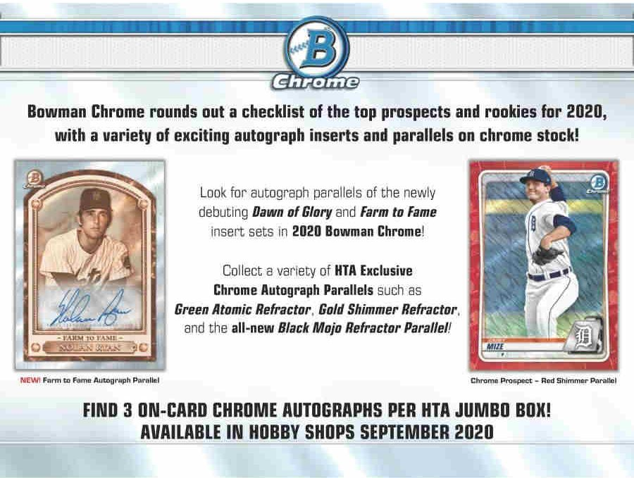 2020 Bowman Chrome Baseball Hta Jumbo Box Got Baseball Cards Of Georgia 770 736 9998
