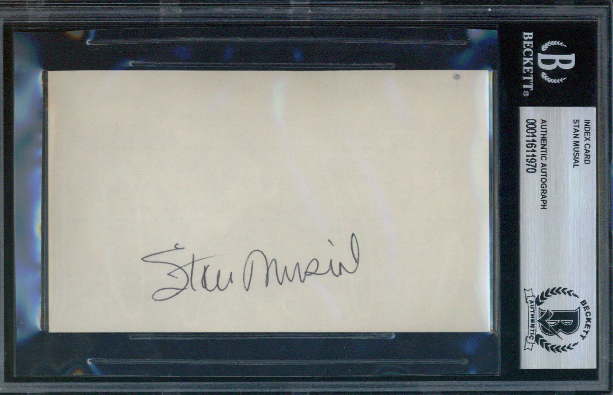 Stan Musial Autographed Index Card BAS Authenticated