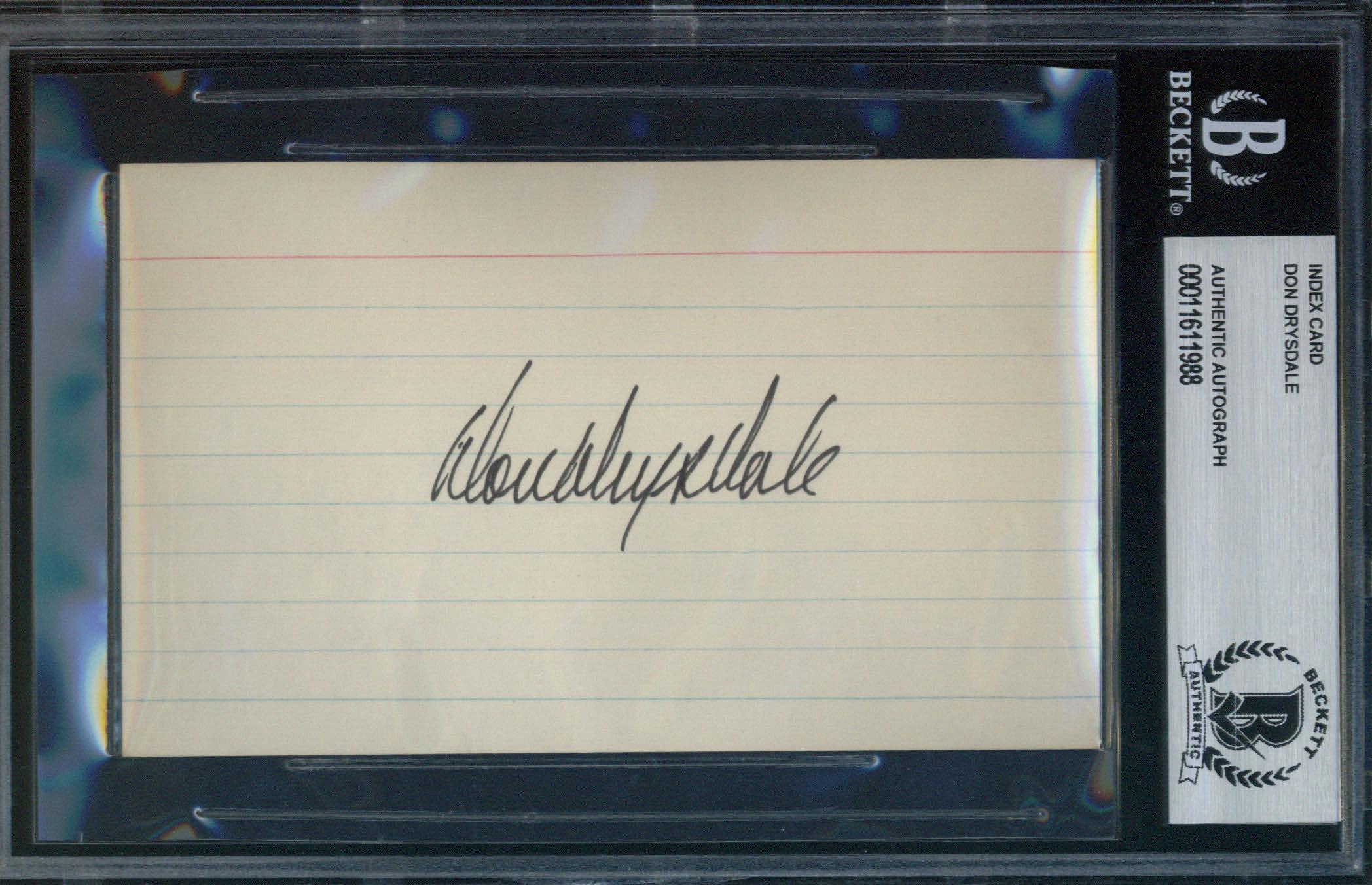 Don Drysdale Autographed Index Card BAS Authenticated