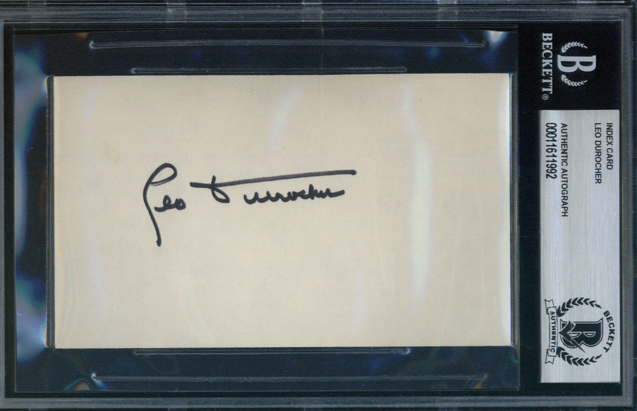 Leo Durocher Autographed Index Card BAS Authenticated