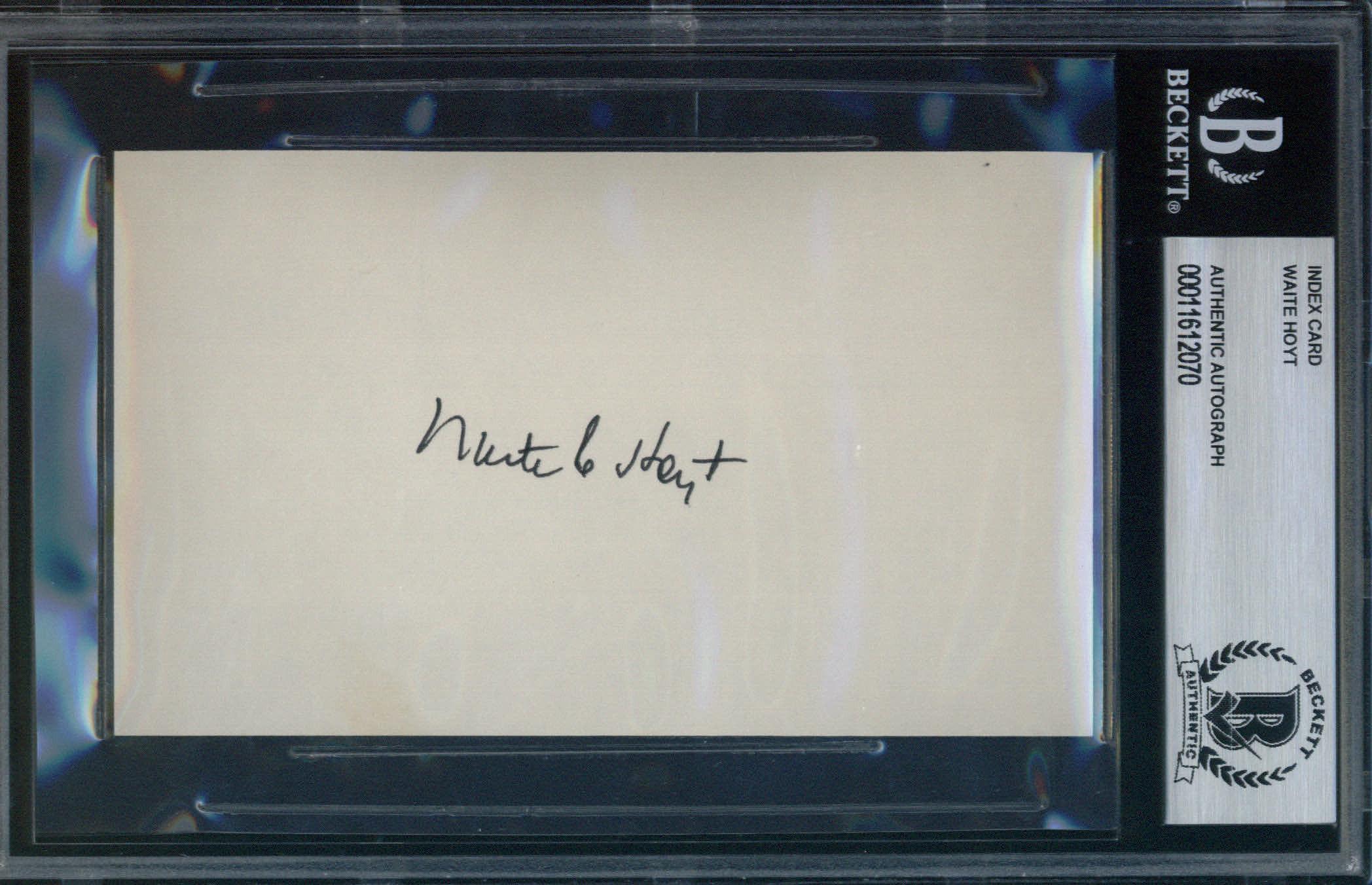 Waite Hoyt Autographed Index Card BAS Authenticated