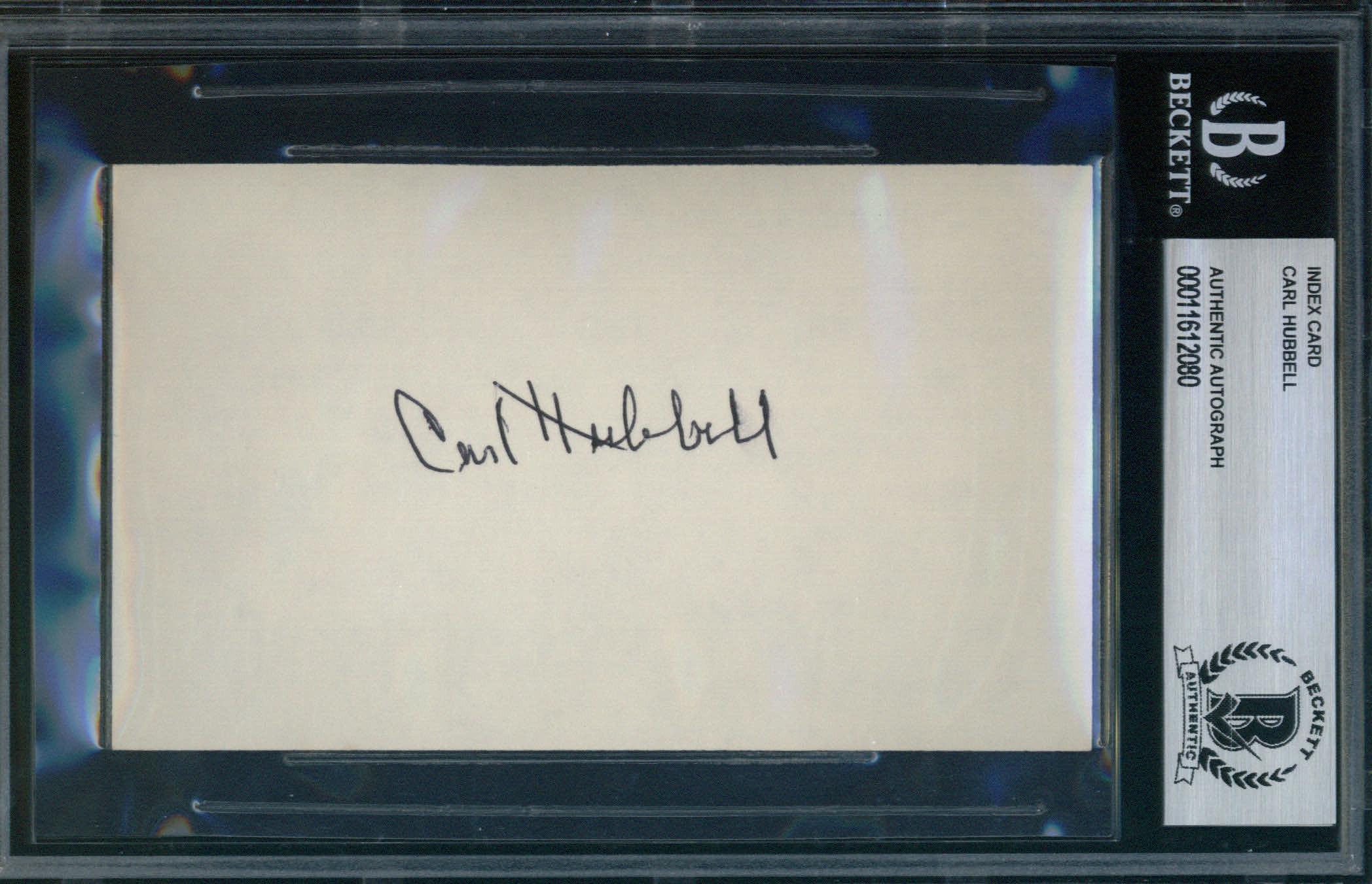 Carl Hubbell Autographed Index Card BAS Authenticated