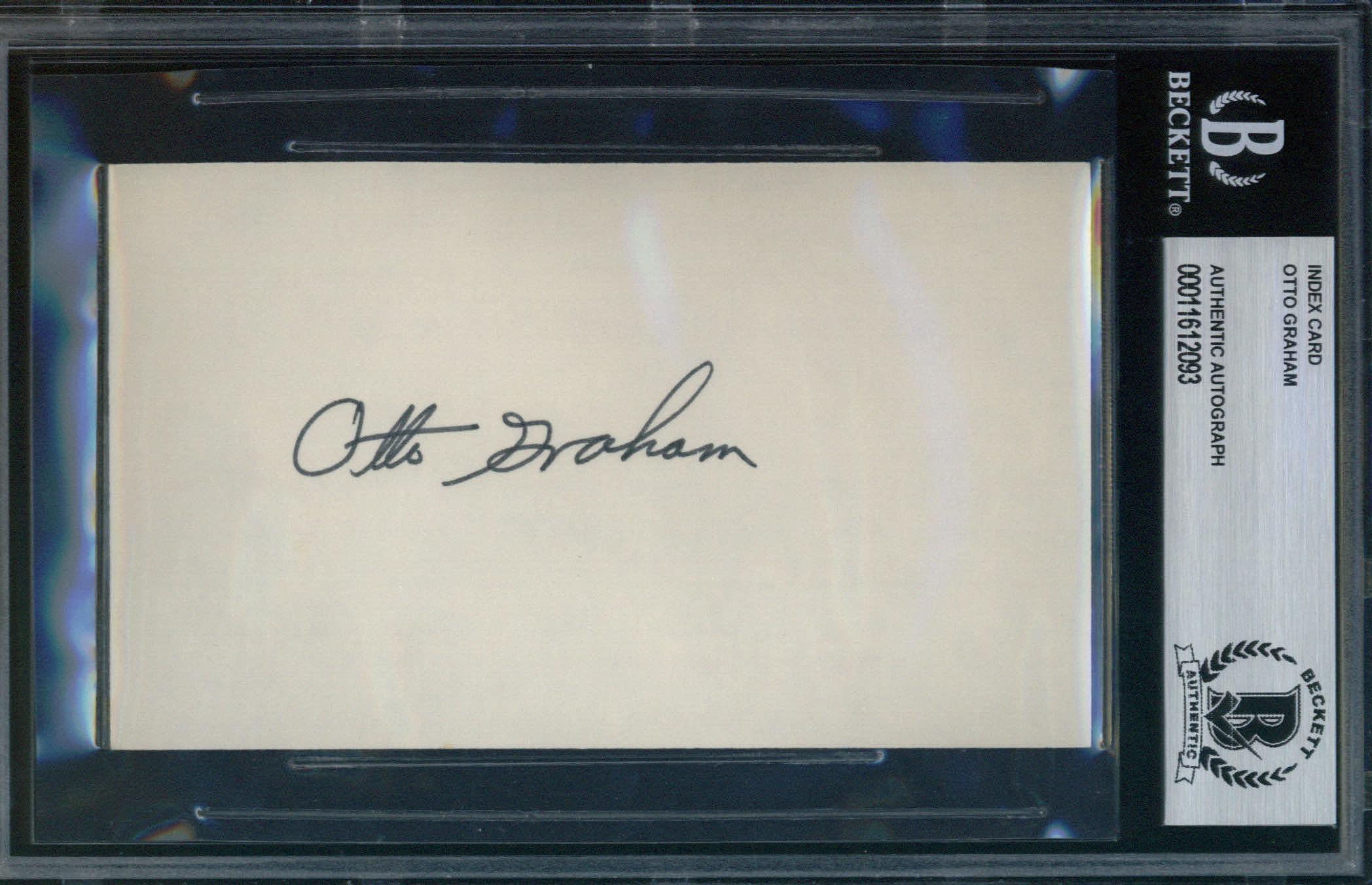 Otto Graham Autographed Index Card BAS Authenticated