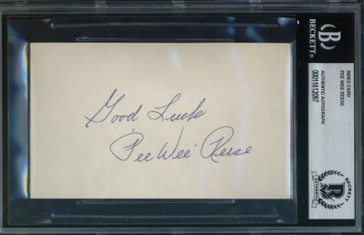 "Pee Wee Reese Autographed Index Card with ""Good Luck"" inscription BAS Authenticated"