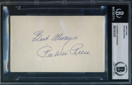 "Pee Wee Reese Autographed Index Card with ""Best Always"" inscription BAS Authenticated"