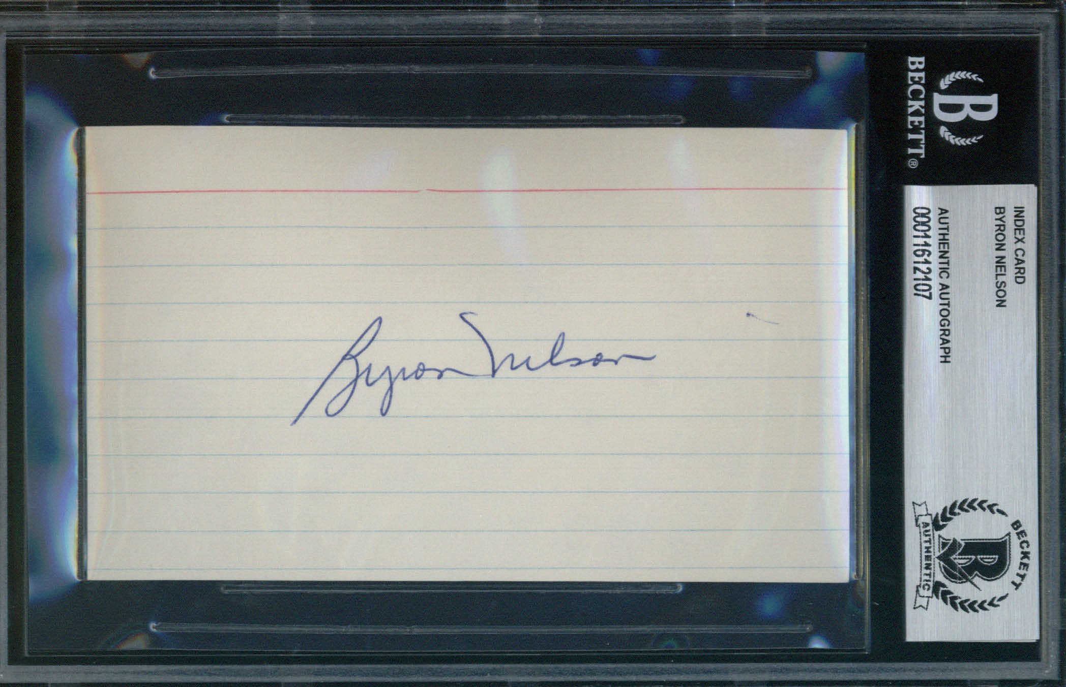 Byron Nelson Autographed Index Card BAS Authenticated