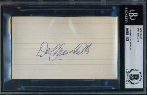 Don Meredith Autographed Index Card BAS Authenticated