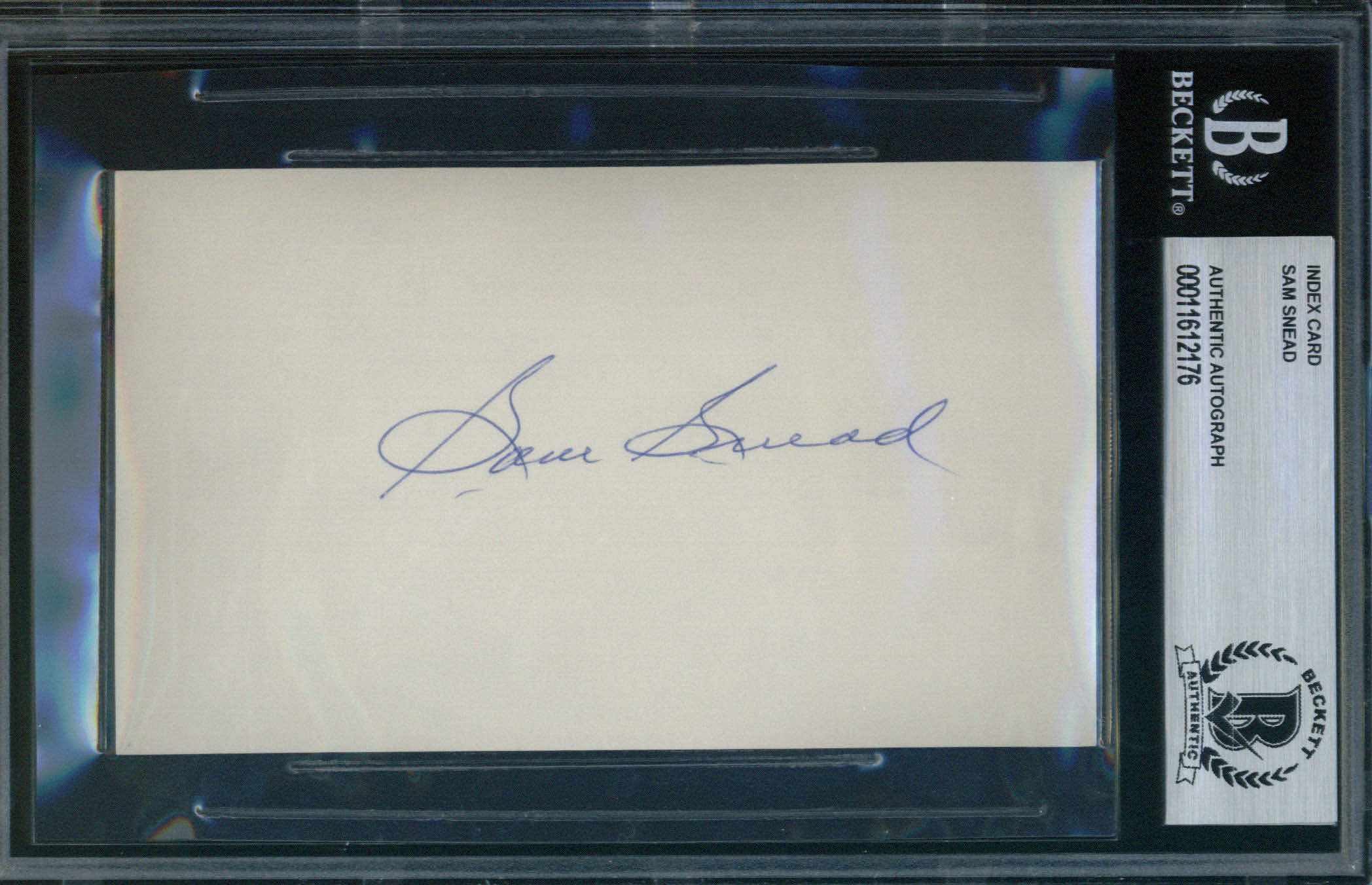 Sam Snead Autographed Index Card BAS Authenticated