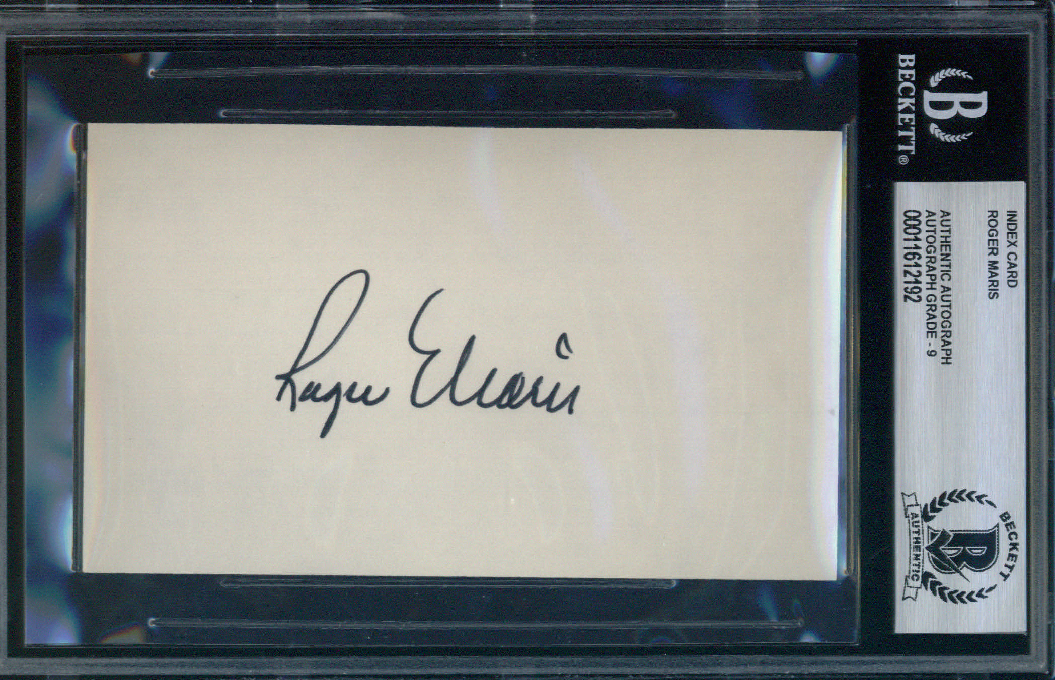 Roger Maris Autographed Index Card BAS Authenticated
