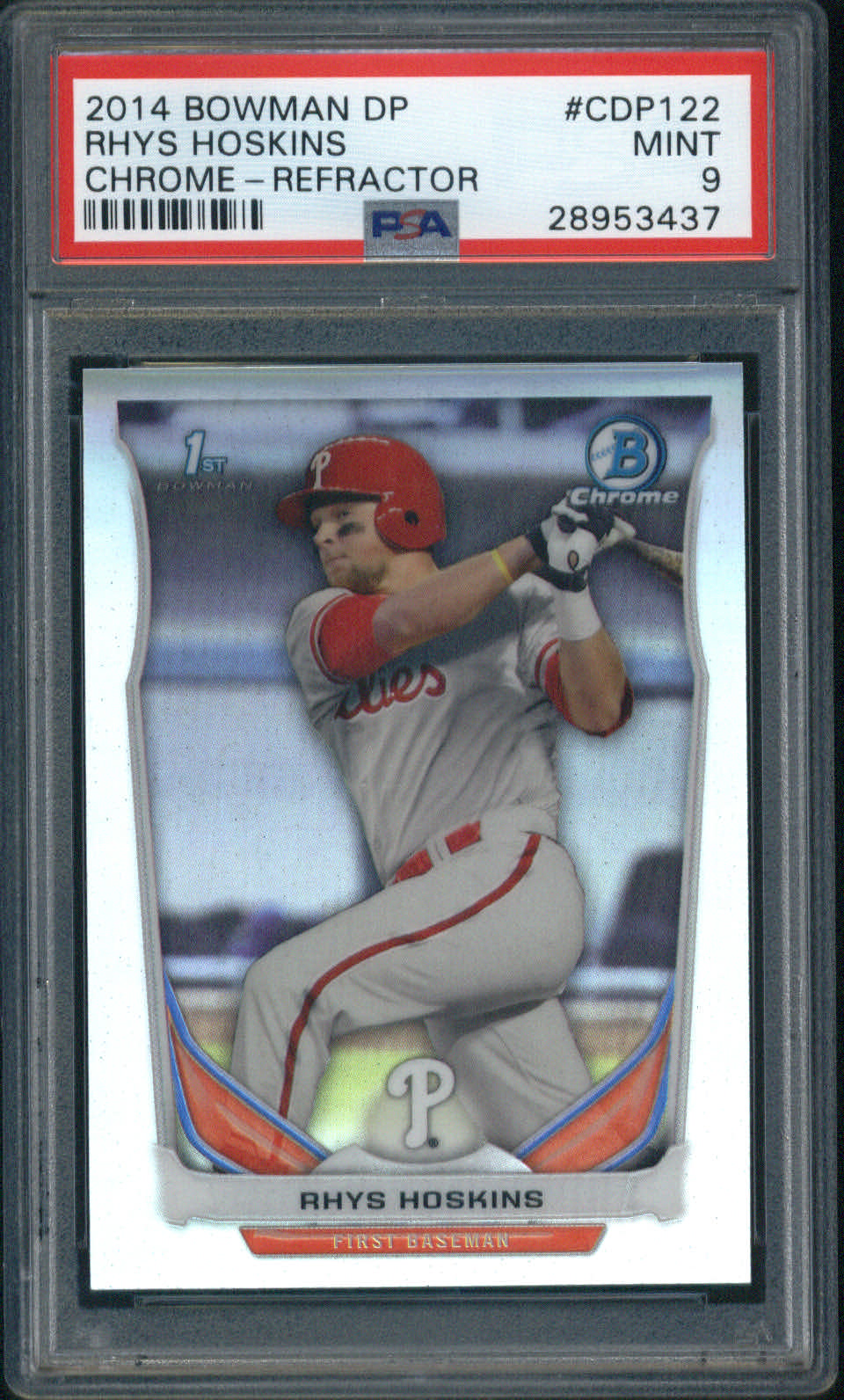 2014 Bowman Draft Picks Chrome Refractor #CDP122 Rhys Hoskins PSA 9