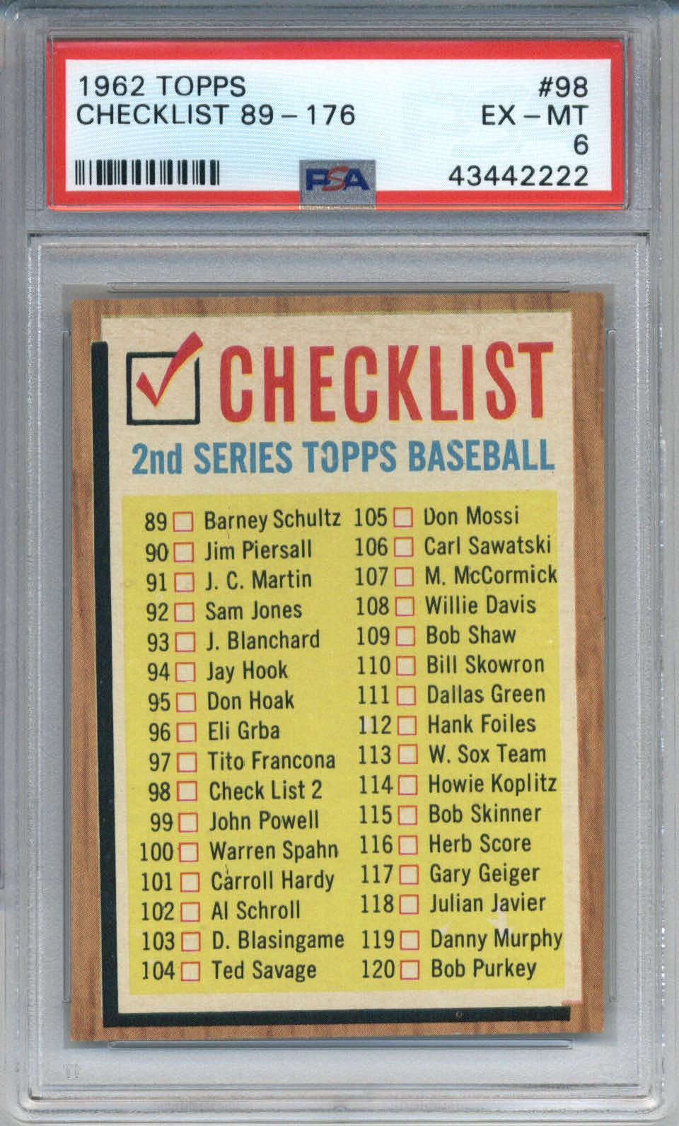 1962 Topps #98 Checklist PSA 6