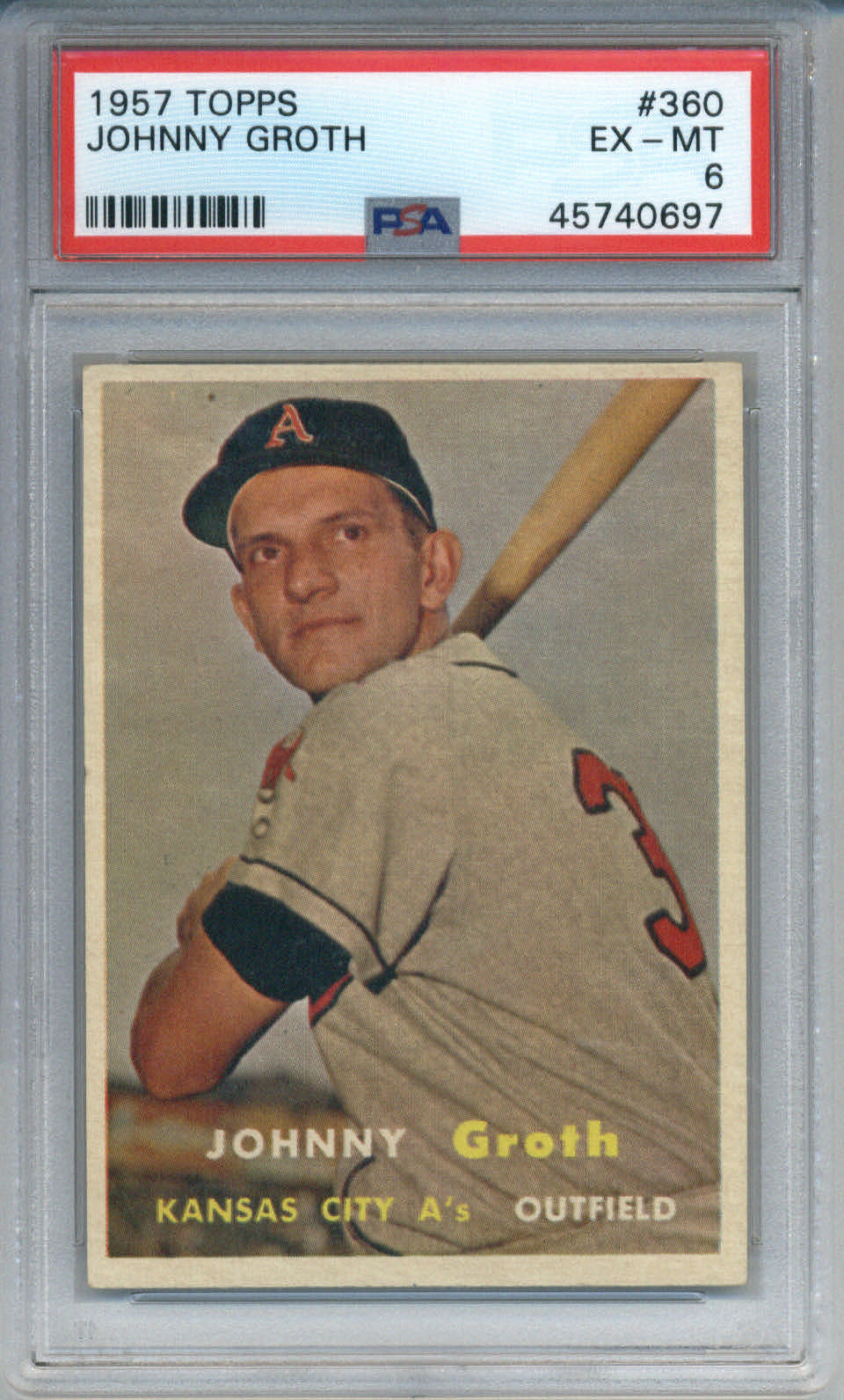 1957 Topps #360 Johnny Groth PSA 6