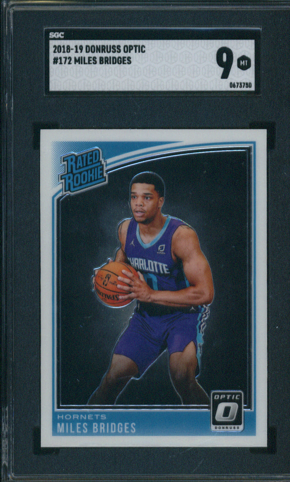 2019-19 Donruss Optic #172 Miles Bridges SGC 9