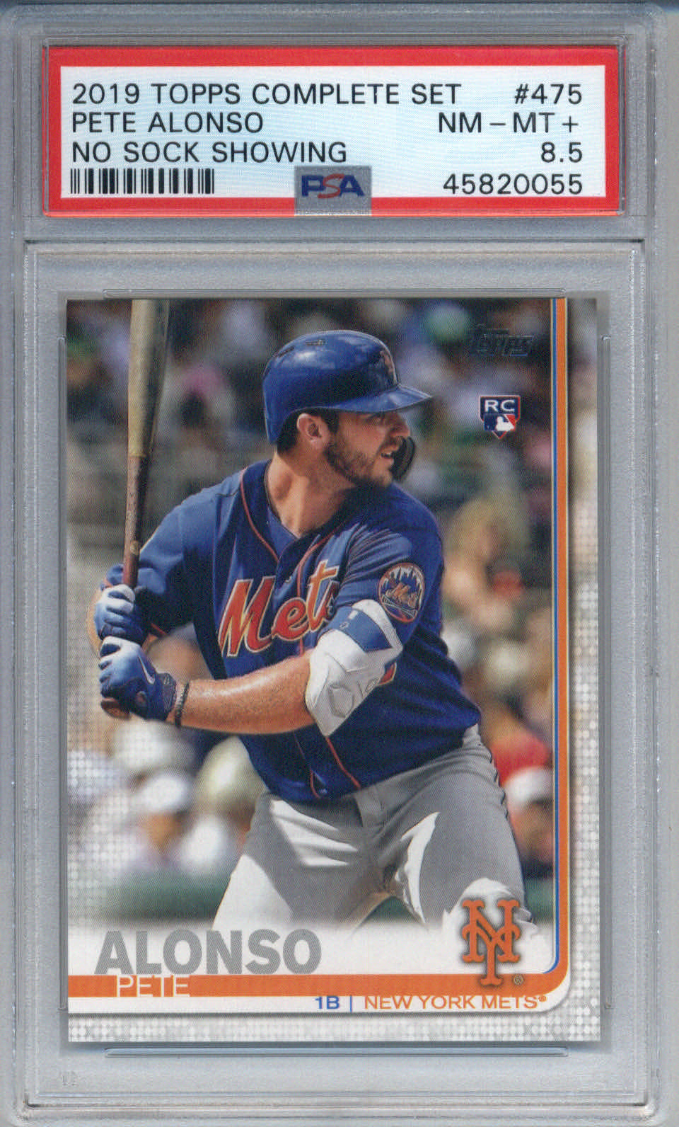 2019 Topps Complete Set No Sock Showing RC #475 Pete Alonso PSA 8.5