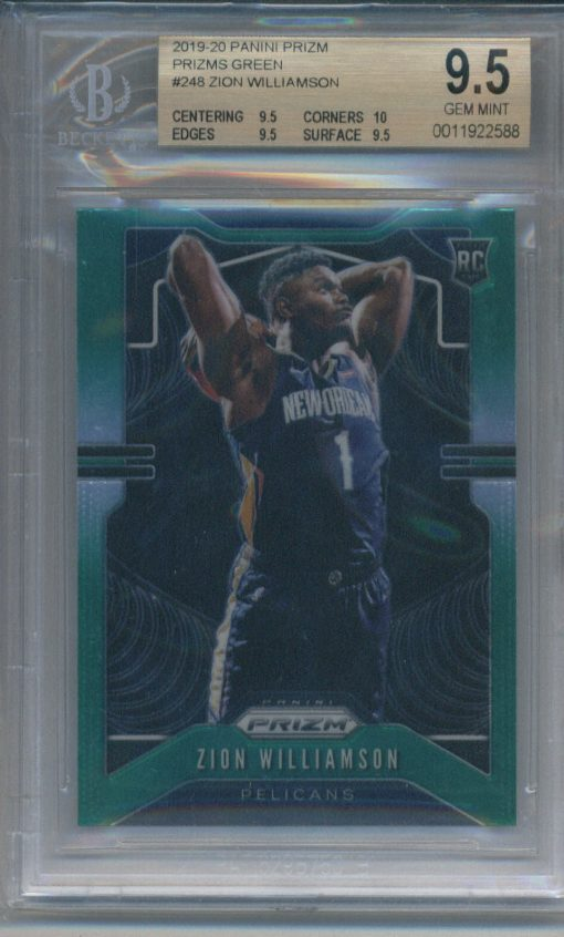 2019-20 Panini Prizm Prizms Green Zion Williamson #248 BGS 9.5