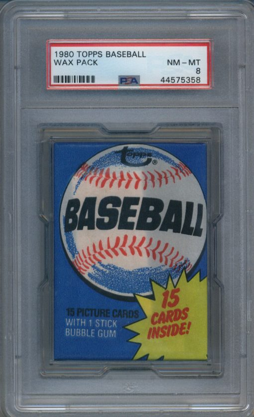 1980 Topps Baseball Wax Pack PSA 8