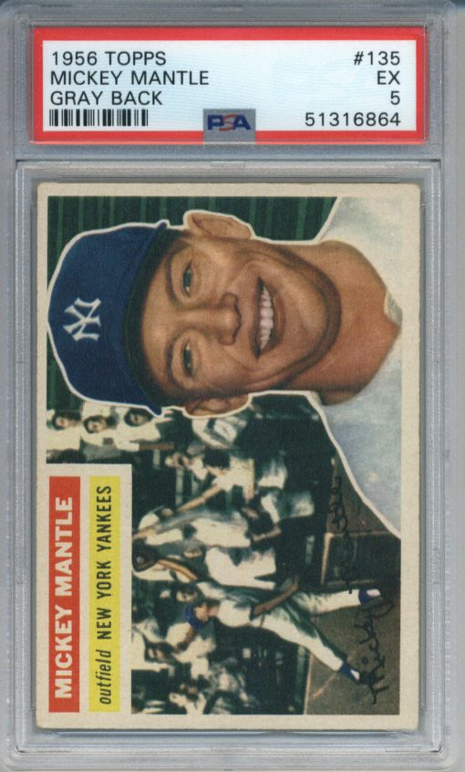 1956 Topps Gray Back Mickey Mantle #135 PSA 5