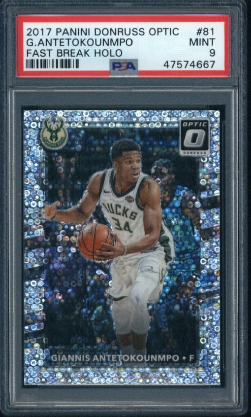 2017-18 Donruss Optic Fast Break Holo #81 Giannis Antetokounmpo PSA 9