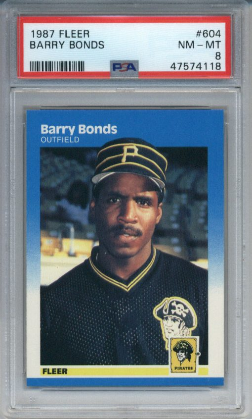 1987 Fleer #604 Barry Bonds PSA 8