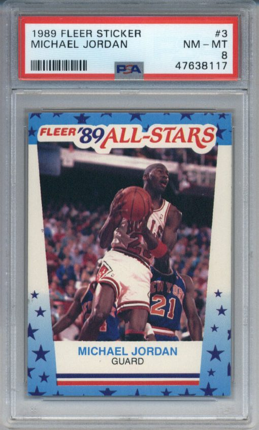 1989-90 Fleer Sticker #3 Michael Jordan PSA 8